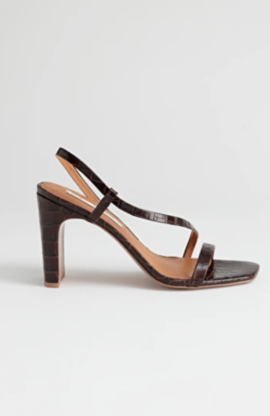 & Other Stories Strappy Croc Heeled Sandals